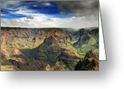 Hawaiian Greeting Cards - Waimea Canyon Hawaii Kauai Greeting Card by Brendan Reals