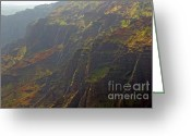 Landmarks Of Usa Greeting Cards - Waimea Canyon on a Misty Day in Kauai Greeting Card by Louise Heusinkveld