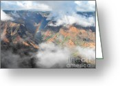 Waimea Greeting Cards - Waimea Canyon Rainbow Greeting Card by Rebecca Margraf