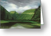 Honokaa Pond Greeting Cards - Waipio Greeting Card by Wallace Kong