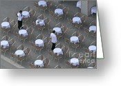 Terraces Greeting Cards - Waiters at empty cafe terrace on Piazza San Marco Greeting Card by Sami Sarkis
