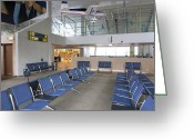Airport Concourse Greeting Cards - Waiting Area at an Airport Gate Greeting Card by Jaak Nilson