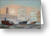 Sailing Fast Greeting Cards - Waiting at Whampoa Greeting Card by Anthony Lyon