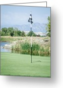 Golf Green Greeting Cards - Waiting Flag Greeting Card by Noah Katz