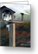 Cat Eyes Greeting Cards - Waiting for Dinner Greeting Card by Pat Burns