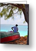 African Heritage Greeting Cards - Waiting For Her Ship To come In Greeting Card by Li Newton