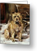 Signed Painting Greeting Cards - Waiting for Master   Greeting Card by Jane Bennett Constable