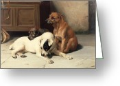 Floor Painting Greeting Cards - Waiting For Master Greeting Card by William Henry Hamilton Trood
