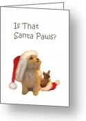 Portraits Greeting Cards - Waiting for Santa Paws Greeting Card by Joni McPherson