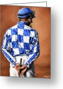 Jockeys Greeting Cards - Waiting for Secretariat Greeting Card by Thomas Allen Pauly