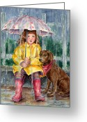 Raining Painting Greeting Cards - Waiting for Sunshine Greeting Card by Barbel Amos