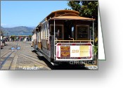 Cable Cars Photo Greeting Cards - Waiting For The Cablecar At Fishermans Wharf . San Francisco California . 7D14099 Greeting Card by Wingsdomain Art and Photography