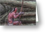 Mohawk Greeting Cards - Waiting for the Enemy Greeting Card by Randy Steele