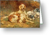 Hounds Greeting Cards - Waiting for the Guns  Greeting Card by Thomas Blinks