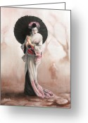 Maiko Greeting Cards - Waiting For The Rain Greeting Card by Karen Acevedo