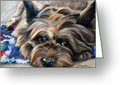 Cairn Terrier Greeting Cards - Waiting for the Wizard Greeting Card by Mary Sparrow Smith