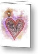 Orange And Yellow Heart Greeting Cards - Waiting For You Greeting Card by Samantha Lockwood