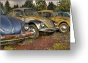 Rusted Cars Digital Art Greeting Cards - Waiting In Line Greeting Card by Jean OKeeffe
