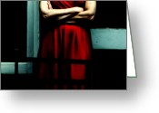 Red Dress Greeting Cards - Waiting in Red Greeting Card by Steven  Digman
