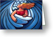 Drinking Water Greeting Cards - Waiting in the Wings Greeting Card by Angela Treat Lyon
