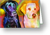 Yellow Dog Digital Art Greeting Cards - Waiting Greeting Card by Karen Derrico