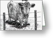 "\\\""barbed Wire Fence\\\\\\\"" Drawings Greeting Cards - Waiting Greeting Card by Lonnie Tapia"