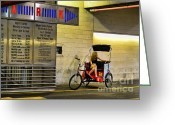 Girl On Bike Greeting Cards - Waiting on a ride Greeting Card by Paul Ward