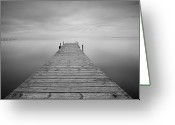 Pier Greeting Cards - Waiting Rain Greeting Card by Cesar March