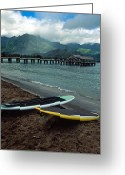 Landscape Framed Prints Greeting Cards - Waiting to Paddle in Hanalei Bay Greeting Card by Kathy Yates