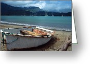 Landscapes Framed Prints Greeting Cards - Waiting to Row in Hanalei Bay Greeting Card by Kathy Yates