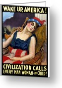1-up Greeting Cards - Wake Up America Civilization Calls Greeting Card by War Is Hell Store