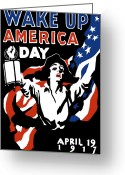 1-up Greeting Cards - Wake Up America Day Greeting Card by War Is Hell Store