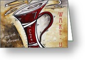 Latte Digital Art Greeting Cards - Wake Up Call Original Painting MADART Greeting Card by Megan Duncanson