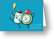 Clock Greeting Cards - Wake up Wake up Greeting Card by Budi Satria Kwan