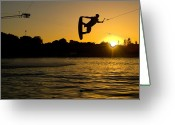 Leisure Activity Greeting Cards - Wakeboarder At Sunset Greeting Card by Andreas Mohaupt