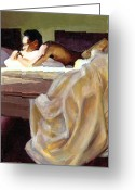 Contemplative Greeting Cards - Waking Up Greeting Card by Douglas Simonson