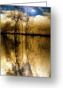 Silhouette Greeting Cards - Walk Along The River Greeting Card by Bob Orsillo