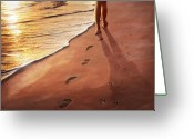 Custom Portrait Greeting Cards - Walk Beside Me Greeting Card by Cliff Hawley