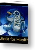 Jogging Greeting Cards - Walk for Health Poster Greeting Card by Roger Calle