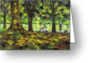Giclee Pastels Greeting Cards - Walk In The Park Greeting Card by John  Nolan