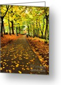 Park Benches Greeting Cards - Walk With Me Greeting Card by Darren Fisher