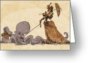 Pets Greeting Cards - Walkies for Otto Greeting Card by Brian Kesinger