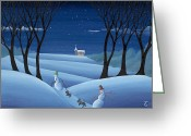 Winter Greeting Cards - Walkin the Dogs Greeting Card by Thomas Griffin