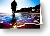 Surf Silhouette Digital Art Greeting Cards - Walking Away Greeting Card by East Coast Barrier Islands Betsy A Cutler