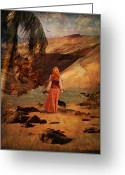 Lianne_schneider Fine Art Print Greeting Cards - Walking Barefoot Greeting Card by Lianne Schneider