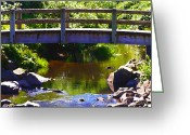 Beautiful Purples Greeting Cards - Walking Bridge at Otter Crest Greeting Card by Glenna McRae