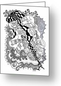 Indian Ink Greeting Cards - Walking by Greeting Card by Fla Arakaki