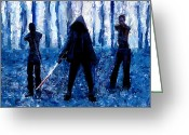 L.a. Woman Greeting Cards - Walking Dead Michonne Art Painting Signed Prints available at laartwork.com Coupon Code KODAK Greeting Card by Leon Jimenez