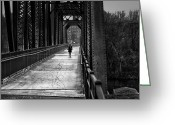 Riverwalk Greeting Cards - Walking In The Rain Greeting Card by Bob Orsillo
