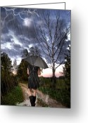 Woman Mixed Media Greeting Cards - Walking in the Rain Greeting Card by Jim  Hatch